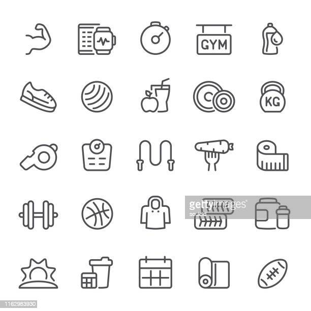 fitness & gym icons - fitness tracker stock illustrations, clip art, cartoons, & icons
