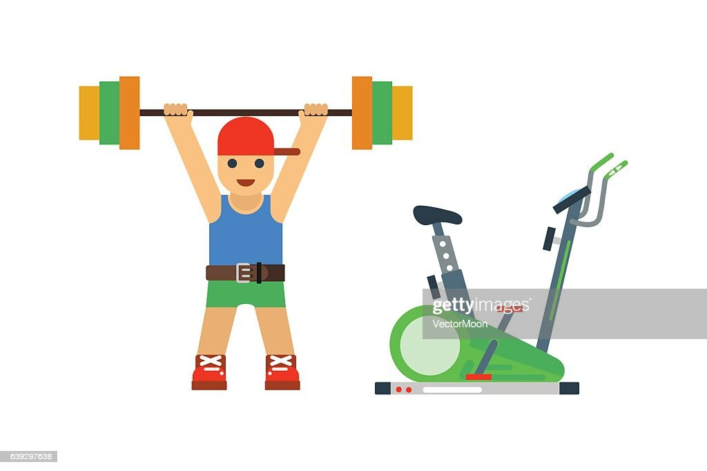 Fitness gym sport people vector icon.