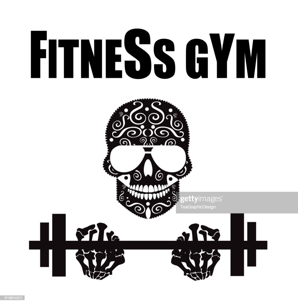 Fitness gym symbol with skull icon background black and white