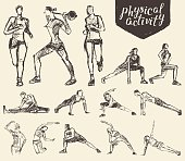 Fitness gymnastic exercises drawn vector sketch
