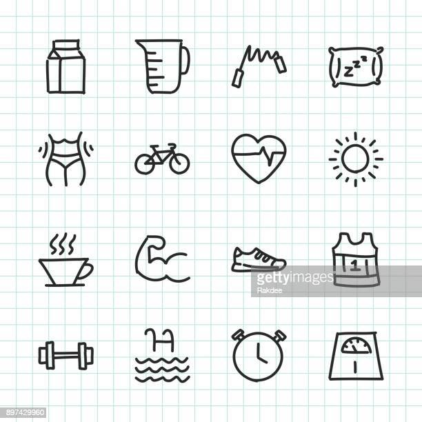 fitness & healthy life - hand drawn series - body conscious stock illustrations, clip art, cartoons, & icons