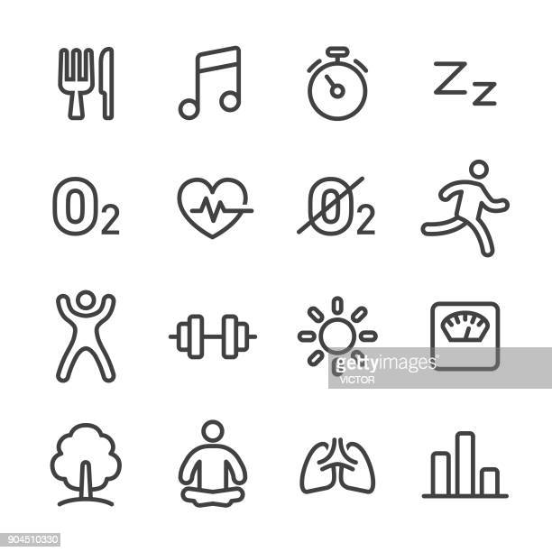 fitness, healthy life style icons set - line series - anaerobic stock illustrations, clip art, cartoons, & icons