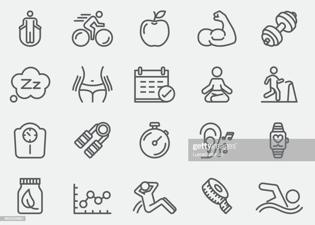 Fitness Healthy Line Icons | EPS 10 : stock illustration