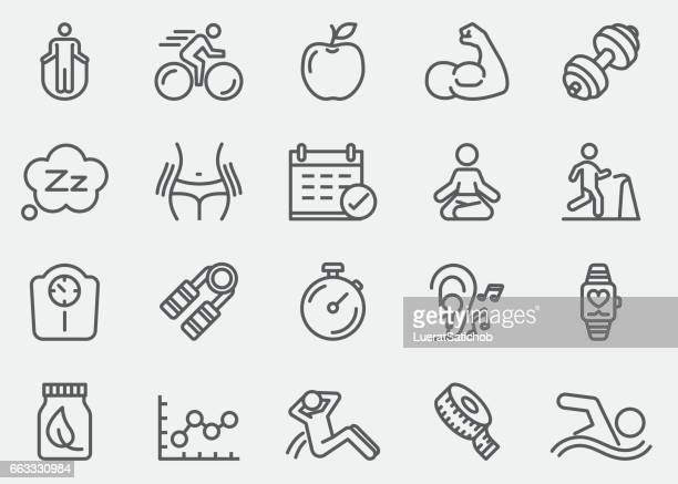 fitness healthy line icons | eps 10 - weight training stock illustrations