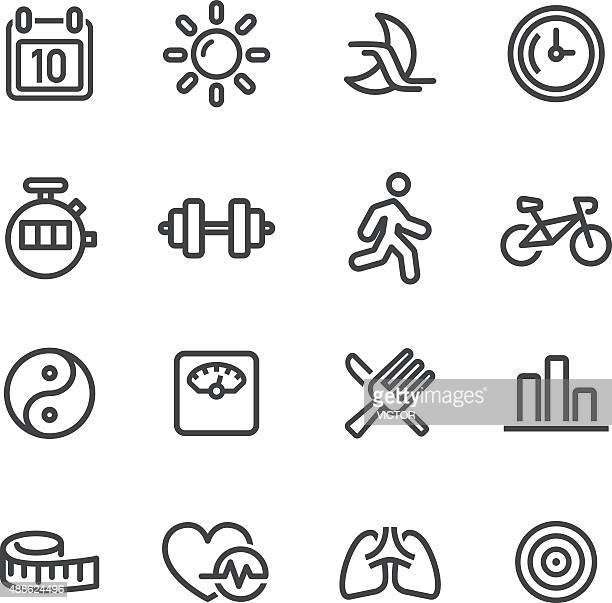 fitness icon - line series - weights stock illustrations, clip art, cartoons, & icons