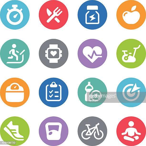 fitness icon set - circle illustrations - human heart beating stock illustrations