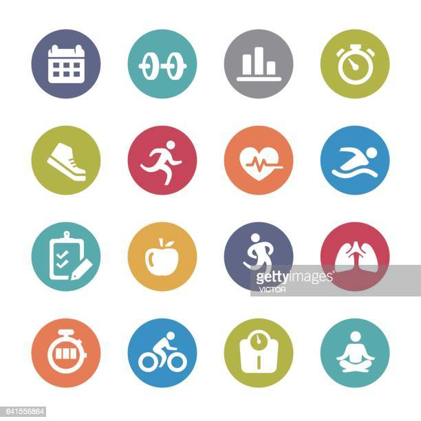 fitness icon set - circle series - fitness stock illustrations, clip art, cartoons, & icons