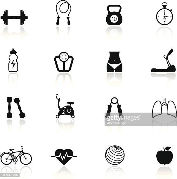 Fitness icon set colored in black and white