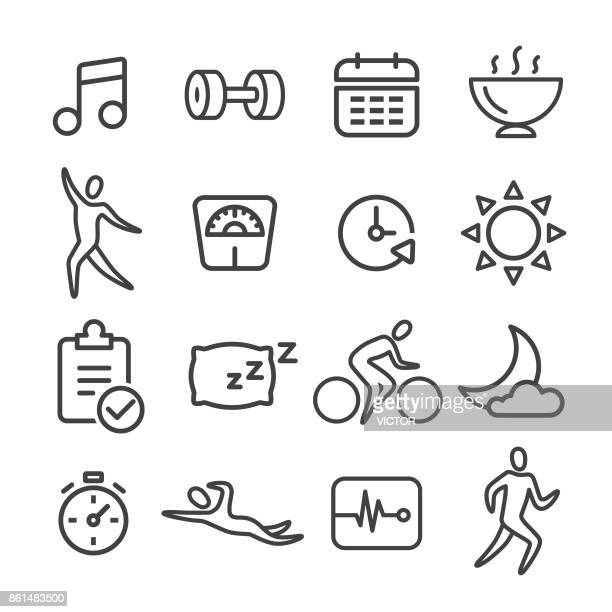 fitness icon set - line series - dumbbell stock illustrations