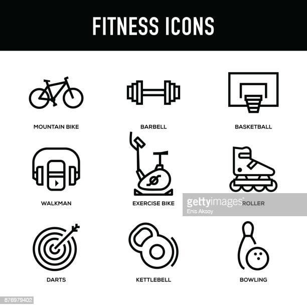 ilustraciones, imágenes clip art, dibujos animados e iconos de stock de conjunto de iconos de fitness - serie de la línea gruesa - mountain bike