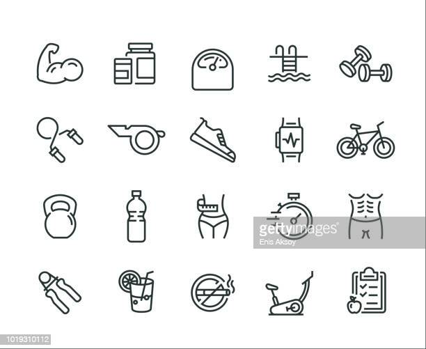 fitness icon set - strength stock illustrations