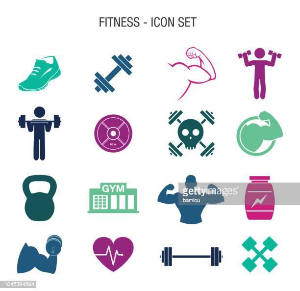 ilustraciones, imágenes clip art, dibujos animados e iconos de stock de conjunto de iconos de ejercicios - entrenamiento con pesas