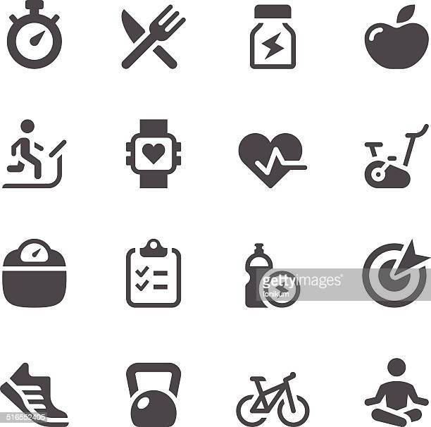 fitness icon set - dieting stock illustrations, clip art, cartoons, & icons