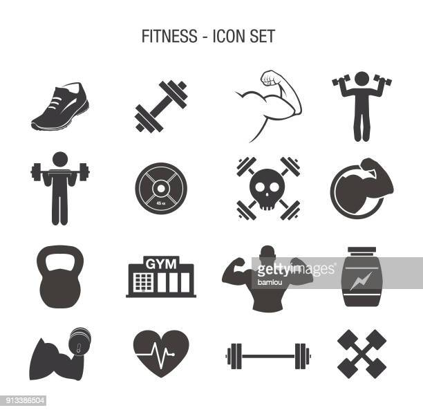 fitness icon set - weight training stock illustrations