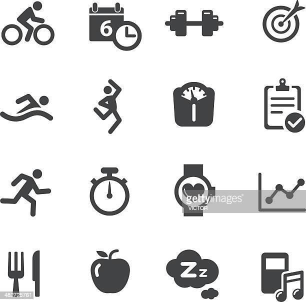 fitness icons - acme series - weights stock illustrations, clip art, cartoons, & icons