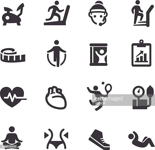 fitness icons - acme series - aerobics instructor stock illustrations, clip art, cartoons, & icons