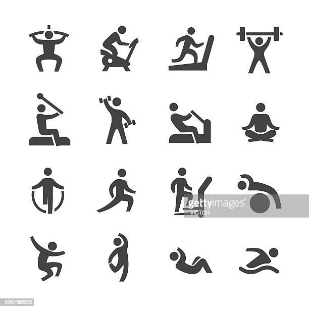 fitness icons - acme series - weight training stock illustrations