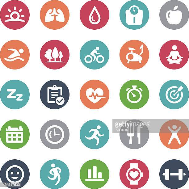 fitness icons - bijou series - healthy lifestyle stock illustrations