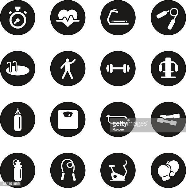 ilustraciones, imágenes clip art, dibujos animados e iconos de stock de iconos de fitness-círculo negro serie - aparatos para hacer ejercicio