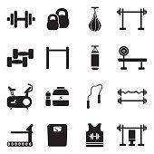 Fitness Icons. Black Flat Design. Vector Illustration.