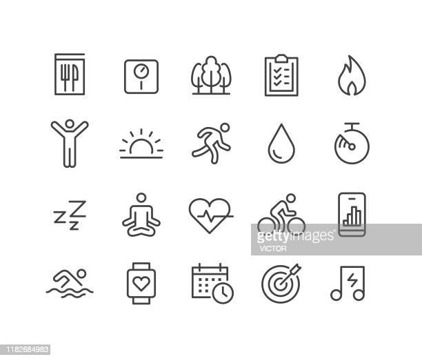 fitness icons - classic line series - body care stock illustrations