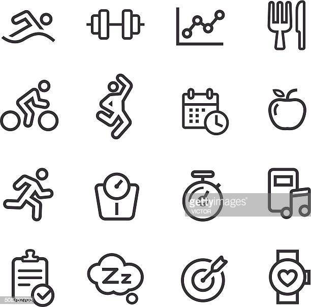 fitness icons - line series - dieting stock illustrations, clip art, cartoons, & icons