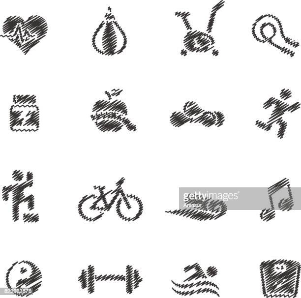 fitness icons // scribble series - step aerobics stock illustrations, clip art, cartoons, & icons