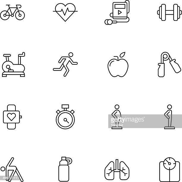 ilustraciones, imágenes clip art, dibujos animados e iconos de stock de conjunto de iconos de fitness/1-luz - entrenamiento de fuerza