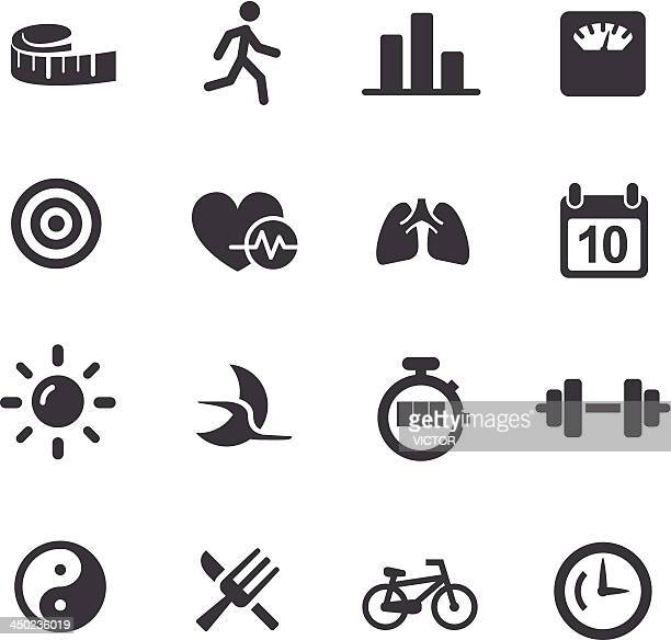 fitness icons set 2 - acme series - inch stock illustrations