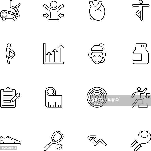 fitness icons | set 2 - light - aerobics instructor stock illustrations, clip art, cartoons, & icons