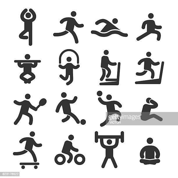 fitness icons set - acme series - jump rope stock illustrations, clip art, cartoons, & icons