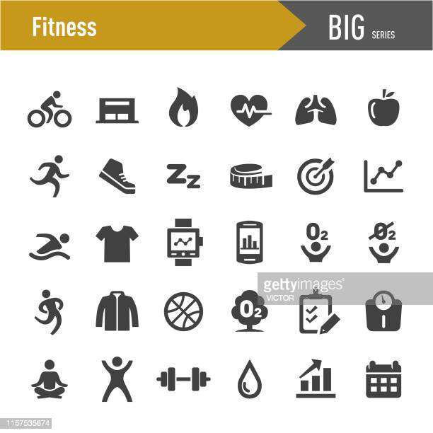 fitness icons set - big series - healthy lifestyle stock illustrations