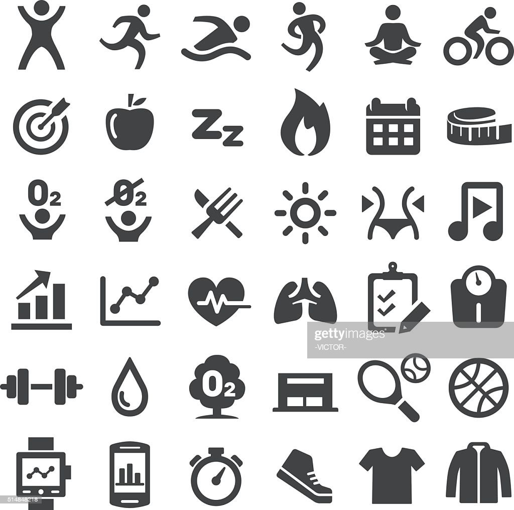 Fitness Icons Set - Big Series : Stock Illustration
