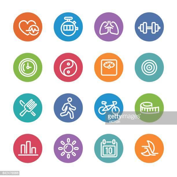 Fitness Icons Set - Circle Line Series