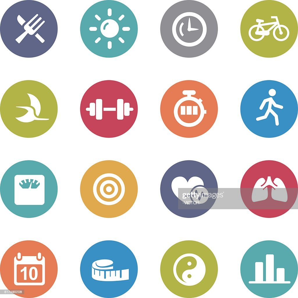 Fitness Icons Set - Circle Series