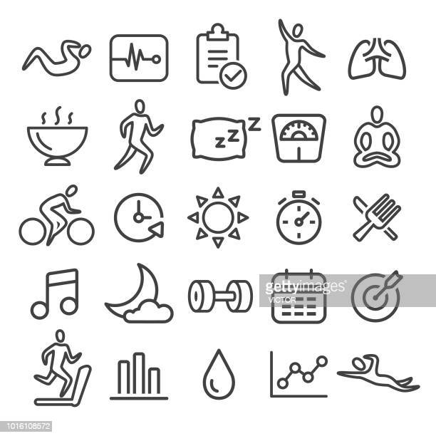 fitness icons set - smart line series - sleeping stock illustrations