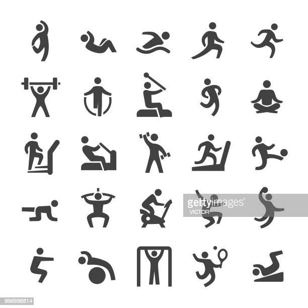 fitness icons set - smart series - relaxation exercise stock illustrations