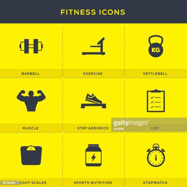 fitness icons set - body conscious stock illustrations, clip art, cartoons, & icons