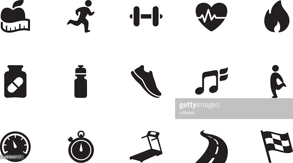 Fitness icons . Simple black : stock illustration