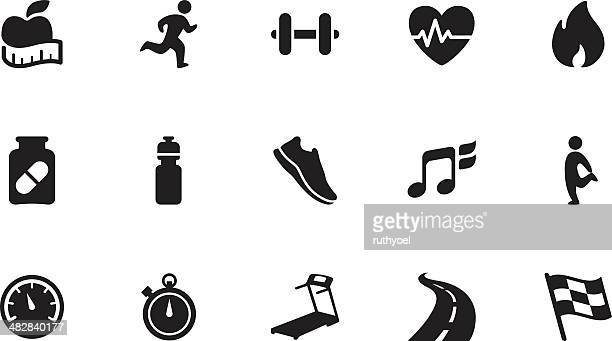 fitness icons . simple black - racewalking stock illustrations, clip art, cartoons, & icons