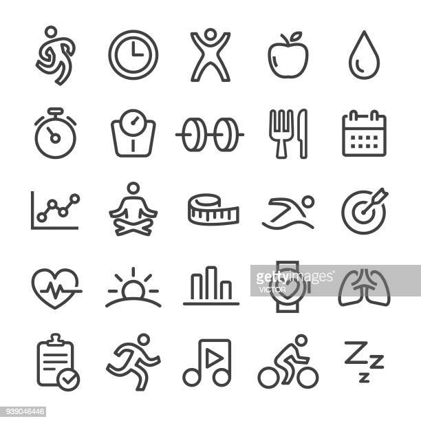 fitness icons - smart line series - healthy lifestyle stock illustrations