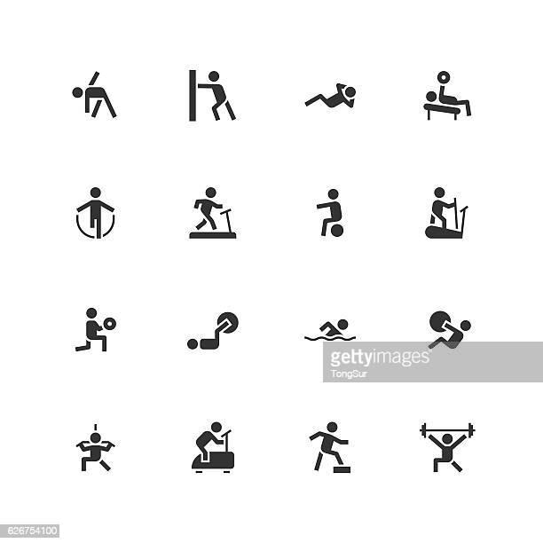ilustraciones, imágenes clip art, dibujos animados e iconos de stock de fitness icons - unique - entrenamiento con pesas