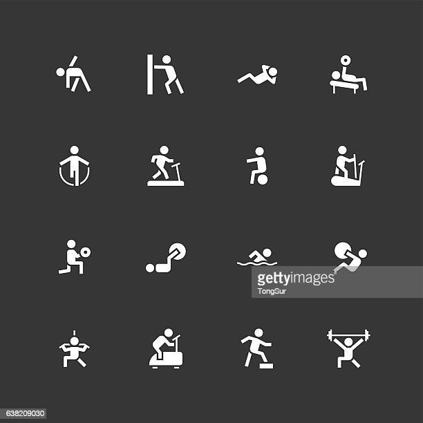fitness icons - unique - white - physical therapy stock illustrations, clip art, cartoons, & icons