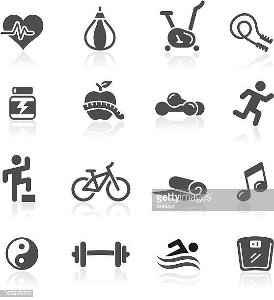 fitness icons - step aerobics stock illustrations, clip art, cartoons, & icons