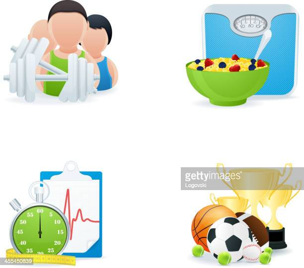 fitness icons - leisure facilities stock illustrations, clip art, cartoons, & icons