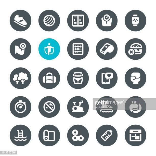 fitness icons - fitness tracker stock illustrations, clip art, cartoons, & icons