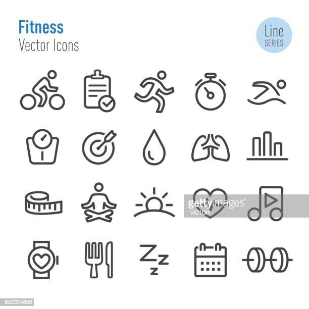 fitness icons - vector line series - dieting stock illustrations, clip art, cartoons, & icons
