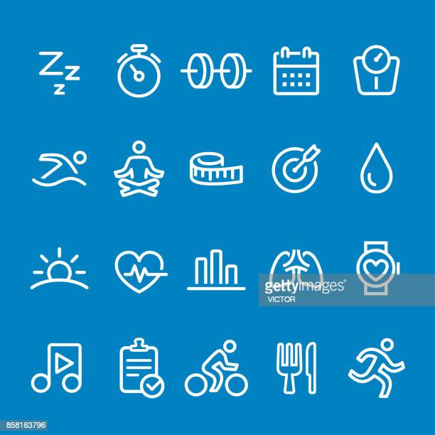 fitness icons - vector smart line series - water aerobics stock illustrations, clip art, cartoons, & icons