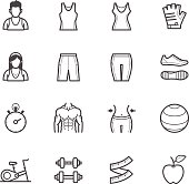 Fitness icons with equipment, clothing, and body shapes