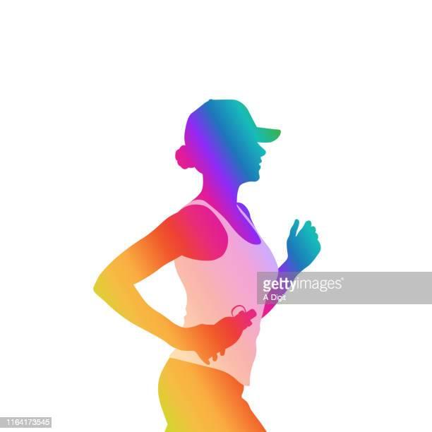 fitness jogging rainbow - updo stock illustrations, clip art, cartoons, & icons